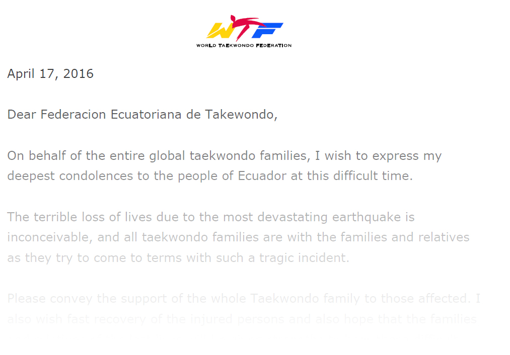 Condolence Letter on the Occasion of Earthquake in Ecuador World – Samples of Condolence Letters
